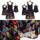 Popreal Mommy And Me Floral Printed Shoulder-Straps Bowknot Halter Chiffon Beach