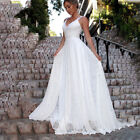 Womens V Neck Lace Maxi Long Skater Dress White Formal Bridesmaid Wedding Party