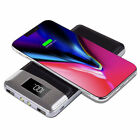 2in1 Qi Wireless Charging 20000mAh LCD Power Bank 2USB Battery Charger For Phone