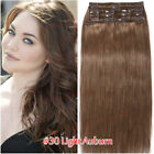Full Head Clip In Brazilian Human Hair Extensions Double Weft 8 Pieces Thick USA