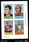 1969 Topps 4-in-1 Football Stamps Charlie Durkee / Clifton McNeil / Fran T VG/EX $4.75 USD on eBay