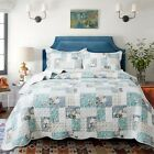 Country Chic Printed Full Patchwork Pattern Printed Quilt Bedding Coverlet Set image