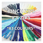 4 INCH No.3 NYLON CLOSED END ZIP *83 COLOURS* ZIPPER SEWING DRESSMAKING