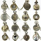 Mens Unisex Vintage Steampunk Retro Bronze Pocket Watch Quartz Pendant Necklace image