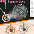 I Love You In 100 Languages Projection Light Pendant Necklace Alloy Jewelry Gift