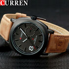 Curren Military Leather Waterproof Date Quartz Analog Men's Quartz Wrist Watches image