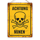 Achtung Minen! Metal Tin Sign Plaque Art