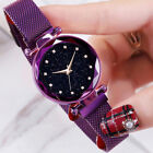 Rhinestone Starry Sky Round Dial Mesh Band Women Quartz Wrist Watch Lot Code