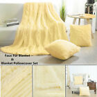 Reversible Soft Lightweight Long Shaggy Faux Fur Blanket Pale Yellow 4 Sizes image
