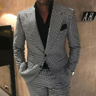 Mens Black&White Houndstooth Tweed Blazer Suits Groom Prom Wedding Tuxedos Lapel