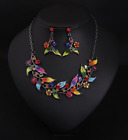 Women's Multi-color Leaf Rhinestone Accessory Necklace Earrings Party 2pcs Set image