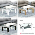Modern Rectangle Coffee Table Tempered Glass&chrome Living Room With Lower Shelf