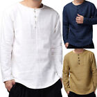 Mens Baggy T-Shirt Buttons Tee Hippie Shirts Blouse Long Sleeve Yoga Top Casual image