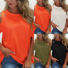 Womens Cold Shoulder O Neck Loose Tops Blouse Ladies Short Sleeve Summer T-Shirt
