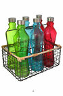 Set 6 Retro Colorful Glass & Stainless Steel Bottles in Metal Carrying Caddy