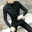 Gothic Men Steampunk Shirt Slim Fit Casual Sequins Formal Party Dress Tee Blouse