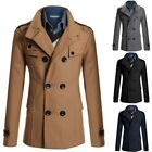 Mens Winter Wool Blend Trench Coat Double breasted Jacket Reefer Peacoat Casual