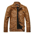 New Men's Leather Jacket Slim fit Biker Motorcycle Bomber Flight Jackets HP237
