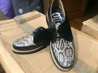VLV AWESOME ROCKABILLY NEW BLACK LEATHER SNAKESKIN FRONT GIBSON STYLE SHOE  SZ 6