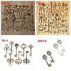 8/40/69/70pcs Large Antique Old Brass Skeleton Necklace Jewelry Pendant Keys Kit