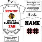 PERSONALIZED CHICAGO BLACKHAWKS FAN BABY GERBER ONESIE SOCK HAT CUSTOM MADE GIFT $18.99 USD on eBay