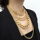 Punk Women Multi-layer Curb Chain Statement Necklace Rock Hip-hop Jewelry Hot