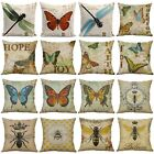 """18"""" Butterfly Bees Home Cotton Linen Bed Decor Pillow Case Waist Cushion Cover"""
