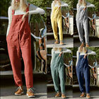 Women Pocket Cotton Linen Loose Wide Leg Jumpsuit Overall Long Trousers Pants