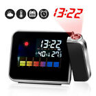 HOT Alarm Clock LED Projection Weather Station Date Display Digital Table Clock