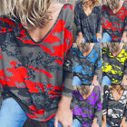 Autumn Womens V-neck Printed Long-Sleeved T-shirt Casual Camouflage Loose Blouse