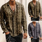 Men's Slim Fit Long Sleeve Leopard Printed Shirt Casual Party Collar Tops Blouse