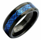 8mm Tungsten Carbide Black Tungsten Blue Dragon Inlay Wedding Band Ring