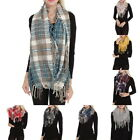 Women Thick Warm Scarf Soft Scarf Lattice Knitted Fringed Winter Warm Scarf GIFT