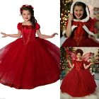 Christmas Toddler Kids Girls Dresses Costume Princess Party Fancy Dress + Cape