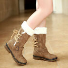 Womens Winter Boots Snow Fur Lined Warm Comfy Casual Fashion Mid Calf Shoe Size