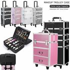 Pro 3 in1 Aluminum Makeup Rolling Case Bag Lockable Cosmetic Wheeled Trolley Box