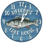 Fish Themed Rustic Cabin Welcome Wall Clock from KDL