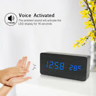 LED Desktop Clock Wooden Alarm Clock USB  3 Levels Brightness Voice Control V2C4
