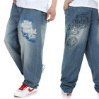 Loose Fit Mens Jeans Hip Hop Skateboard Street Wear Pants Embroidered 32W-42W