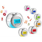7 Color Digital LED Glowing Change Alarm Clock Thermometer with Nature Sound CHZ