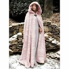 Women Hooded Faux Fur Cape Long Cloak Shawl Mantle Cardigan Cosplay Costume