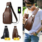 Leather Shoulder Bag Chest Pack USB Charge Crossbody Handbag For Nintendo Switch