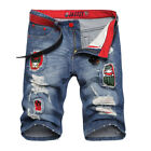 Mens Casual Shorts Patched Bermuda Jeans Shorts Denim Ripped Distressed 30W 31W