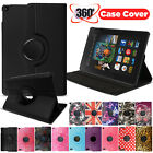 Leather 360 Rotating Stand Case Cover For Amazon Kindle Fire 7 8 10 Inch Tablets