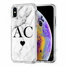 Initials Phone Case Personalised Marble Hard Cover For Apple iphone 7 8 X 11 019