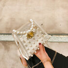 Vintage Women PVC Clear Pearl Jelly Bag Transparent Tote Handbag Crossbody Bag