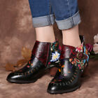 SOCOFY Women Stitching Painted Flower Genuine Leather Shoes Elegant Ankle Boots