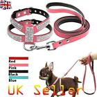 Dog Harness Leash Set Suede Leather Rhinestone Pet Harnesses Walking Leads S M L
