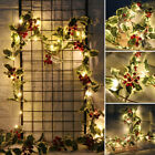 Red Berry LED String Lights Christmas Decor Rattan Garland Lights Party Decor