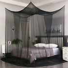 4 Corner Black Post Mosquito Net Curtain Bed Canopy Netting Outdoor Indoor image